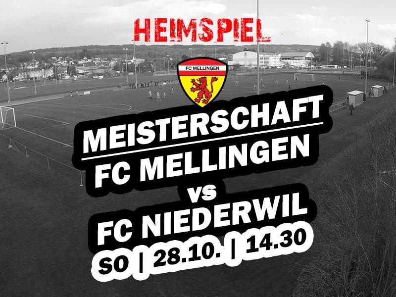 1. Mannschaft: Heimspiel gegen den FC Niederwil
